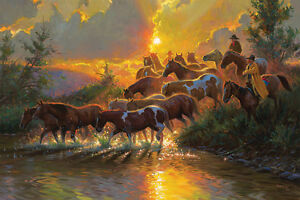LED Lighted~Western Horse Cowboy Canvas Art w/Timer~Picture Decor 24