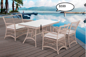 Outdoor Aluminum Resin Wicker/Poly wood Dining Sets