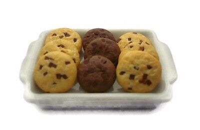 12 Chocolate Chip Cookie on White Tray Dollhouse Miniatures Mini Food Bakery