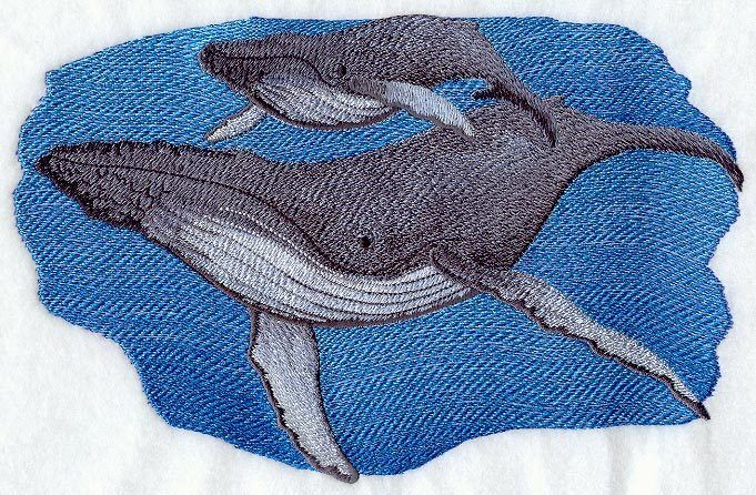 """Humpback Whales, Marine, Nautical, Embroidered Patch 9.3""""x 5.9"""""""