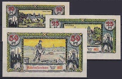 Notgeld Altenkirchen 10, 25, 50 Pfennig 1921, 3 Scheine