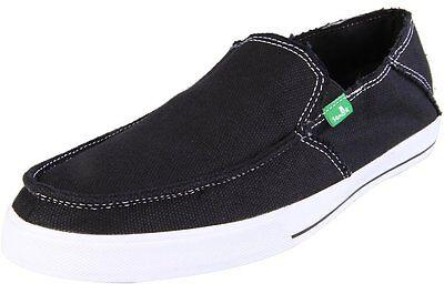Sanuk Men's Black Standard Slip-on Canvas Lightweight Vegan Shoes NEW Size 11