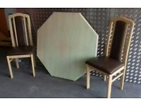 Dining Table & 4 Chairs, Matching Base Unit & Display Cabinet with Glass Shelves.