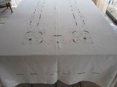 Vintage Italian Embroidered Banquet Tablecloth Needle Lace Cutwork Ecru