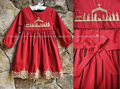 Smocked A Lot Girls Christmas Dress Red Gold Nativity Scene Away in a Manger  - Girls Gold Christmas Dress