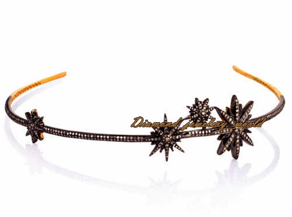 Vintage 7.82ct Clear Genuine Old Mine Rose Cut Diamond Silver Star Tiara Jewelry