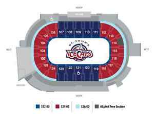 2 Ice Cap Tickets for Sat, April 15th. Great Seats. 682-4678.