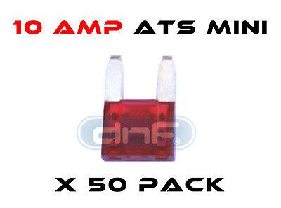 50 PCS 10 AMP ATS/ATC MINI BLADE 12V AUTOMOBILE FUSE - FREE SAME DAY SHIPPING!