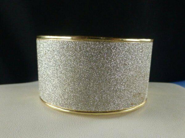 Pretty Wide Gold Tone Bangle Bracelet Sparkles SPARKLES!
