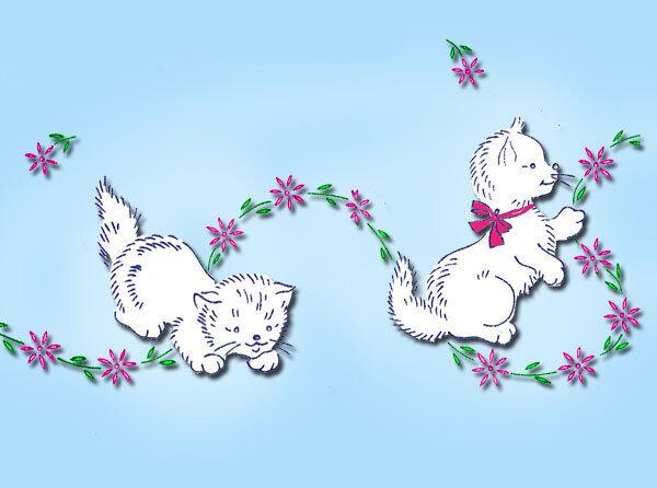 1950s Vintage Swan Kitty Pansies Pillowcase Embroidery Transfer Uncut Vogart 242