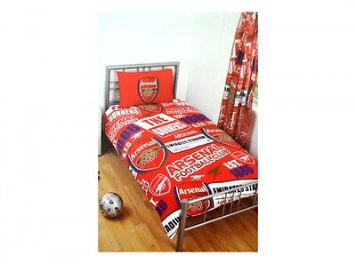 Arsenal FC PATCH Single Bed Football Club Crest Duvet Cover Set Red Gunners ()