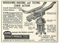 1953 Wilkes Berger Engineering Tilting Chair Shoreditch Ad - engin - ebay.co.uk