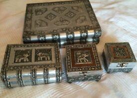 Silver antique look jewellery box set