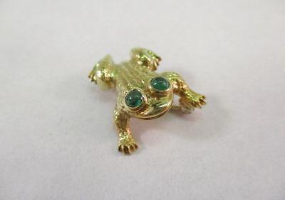 18K Yellow Gold 2 Emerald Eyes Frog Brooch Pin