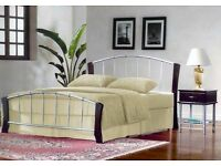 EX DEMO. 4ft6 double size Metal bed frame, bedstead. Dark wood and metal