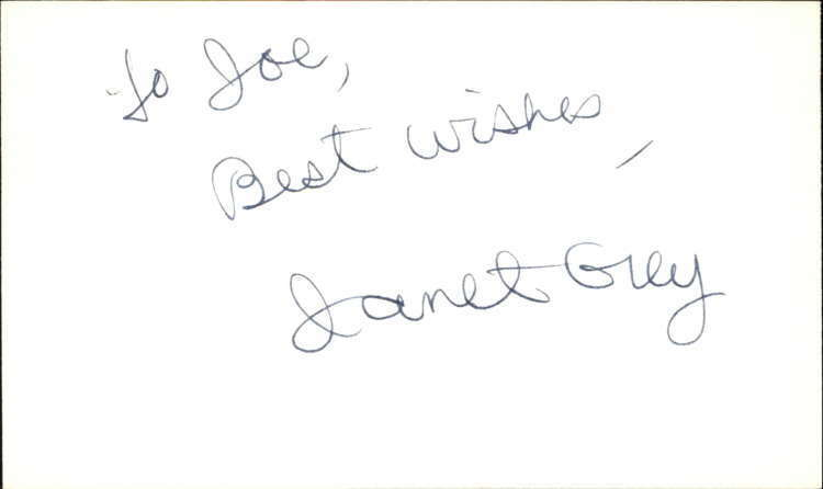 "Janet Grey Actress Guiding Light Signed 3"" x 5"" Index Card"