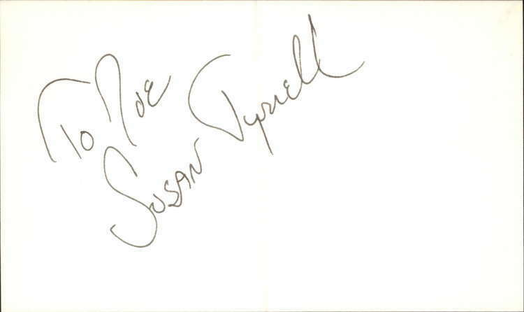 "Susan Tyrrell 2012 Actress Cry-baby Signed 3"" x 5"" Index Card"