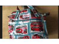 Cath Kidston Women's Blue Small Zipped London Buses Mini Zip Bag - BARELY USED