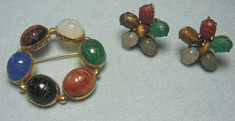 Gold over Sterling Silver Earrings & GF ADMARK Pin semi precious scarabs