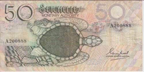 SEYCHELLES BANKNOTE P25-0888 50 RUPEES, VF
