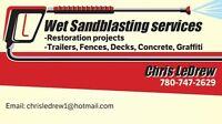 Wet sandblasting services