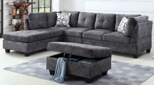 SECTIONAL SOFA COUCH WITH STUDS & MATCHING OTTOMAN