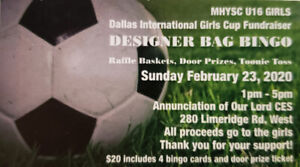 Designer Bag Purse Bingo Furaiser!!!!!! For MHYSC Rep U16 Girls