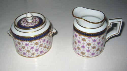 Vintage Richard Ginori Pittoria Demitasse Sugar Bowl and Creamer Blue/Gold/Pink