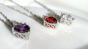 Heart shaped crystal pendant, red, purple, or clear, w/ necklace