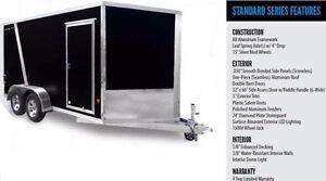 Used Once 2015 7x16 V-Nose Aluminum Frame Trailer