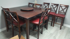 Table with lazy susan and 9 chairs