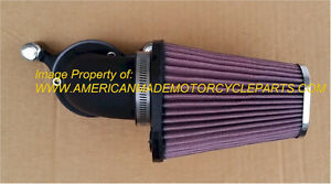 BLACK RED CONE AIR CLEANER FILTER KIT CARB , FI HARLEY Forcewinder USA KN FILTER