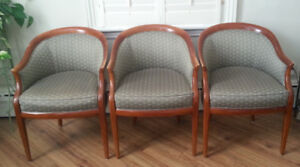 Curved Back Wood and  Upholstery Quality Chairs