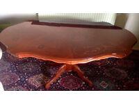 Ornate Large Italian walnut inlaid dining table,sits 6-8