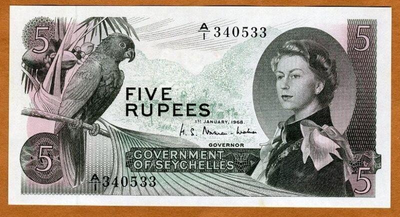 Seychelles, 5 rupees, 1968, P-14a, QEII, UNC