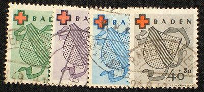 Französische Zone Baden Nr. 42-45 gestempelt , Deutsches Rote Kreuz