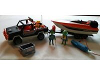 Playmobil speed boat with truck and trailer and motor
