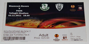 old TICKET EL Shamrock Rovers Republic of Ireland PAOK Thessaloniki Greece - <span itemprop=availableAtOrFrom>Poznan, Polska</span> - old TICKET EL Shamrock Rovers Republic of Ireland PAOK Thessaloniki Greece - Poznan, Polska