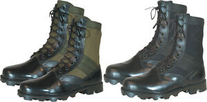 "Leather Military Jungle Boots 8"" - Vietnam Style Jungle Boots - Panama Sole"