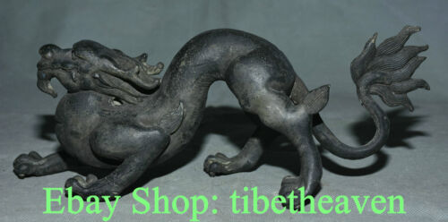 "12"" Old China Bronze Dynasty Feng Shui Dragon Loong Luck Sculpture Statue"