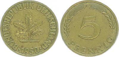 BRD 5 Pfennig 1950 D Papproth Variante 5V3, obere Blattstengel enden n. in Knot