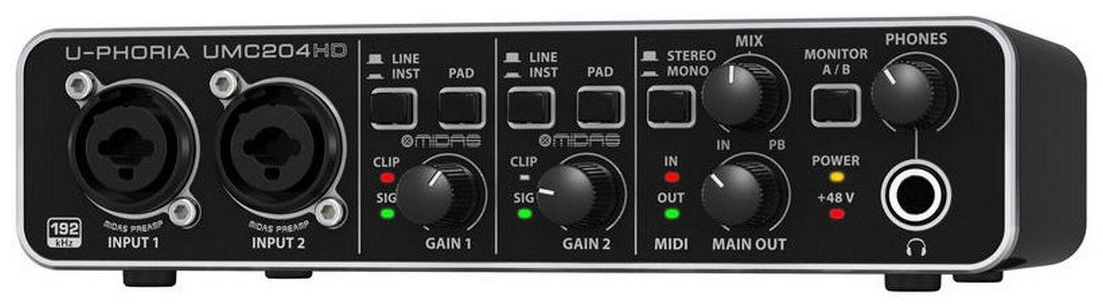 BEHRINGER UMC204HD INTERFACCIA AUDIO 2x4 MIDI/USB 24 BIT/192 KHZ - PREAMP. MIDAS