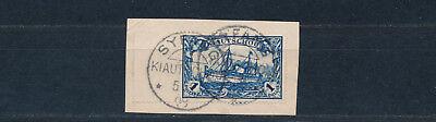 Kiautschou 1 $ Yacht 1905 Briefstück Syfang Michel 25 A geprüft (S14617)