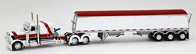 DCP 1:64 WHITE RED Peterbilt 389 Semi WHITE Lode King Distinction Grain Trailer 1