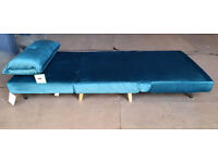 Ex Display Fabric Chair bed - Teal