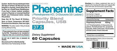 1 Phenemine Adipex 37.5 375 P Caps Best Diet Pills Suppress Appetite Suppressant 2
