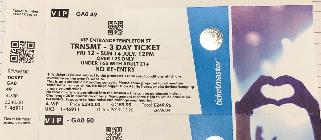 1 x VIP Trnsmt Ticket - Full Weekend VIP Access - less than face value !! |  in East End, Glasgow | Gumtree