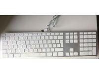 Genuine Apple Mac A1243 Ultra Thin Aluminum USB Wired Keyboard with Numeric Keypad