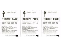 3x Thorpe park tickets, valid any day until 3/10/16