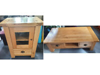 coffee table and upright TV unit set, in solid Oak wood